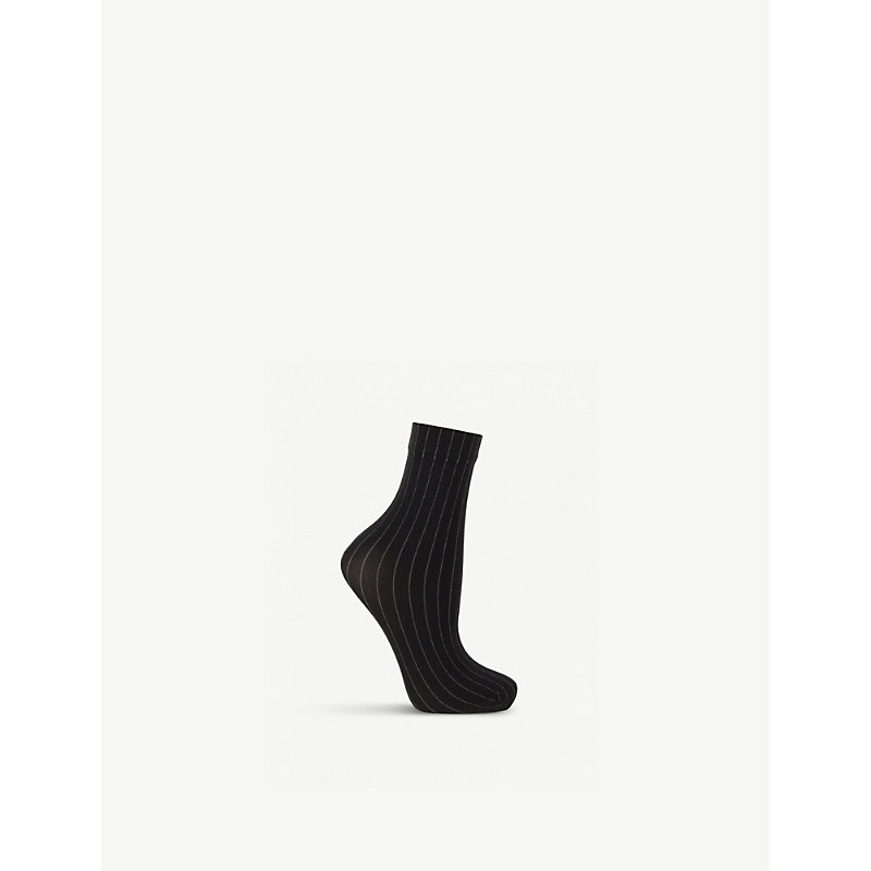 Muriel Woven Pinstripe Socks in Black White
