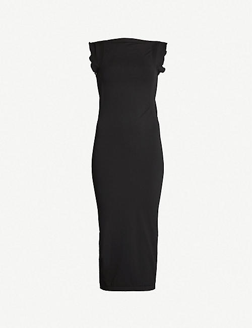 WOLFORD Fatal Drape ruffle-trimmed stretch-jersey dress