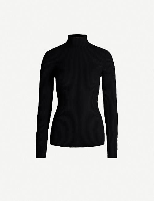 WOLFORD: Turtleneck ribbed jersey jumper