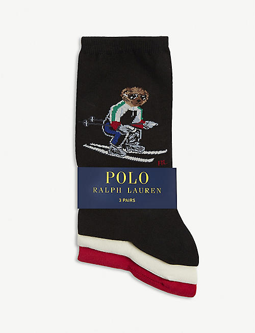 POLO RALPH LAUREN Ski Polo Bear cotton-blend socks pack of 3
