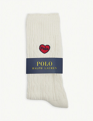 POLO RALPH LAUREN Heart logo cable-knit socks