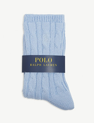 POLO RALPH LAUREN Cotton-blend cable-knit socks