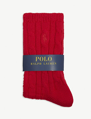 POLO RALPH LAUREN Cotton-blend cable knit socks