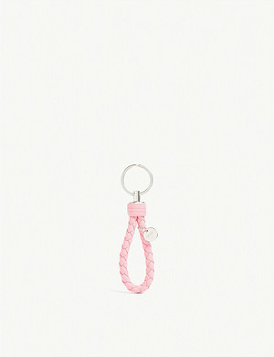 BOTTEGA VENETA Intrecciato woven leather keyring