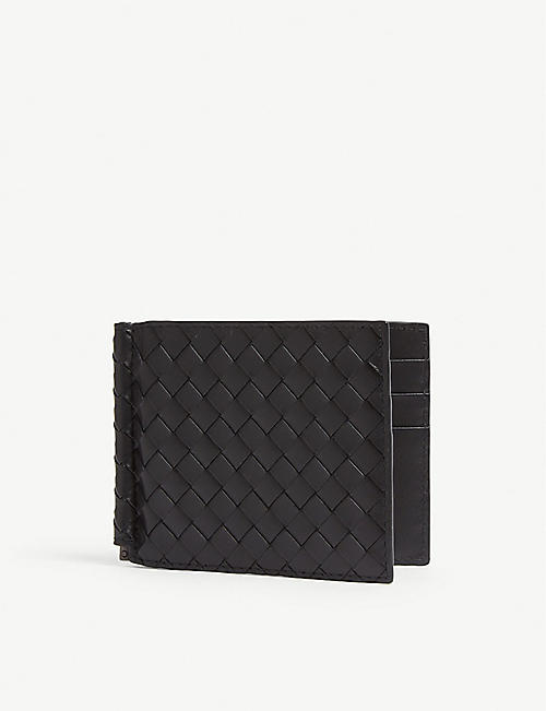 BOTTEGA VENETA Woven leather card holder and money clip
