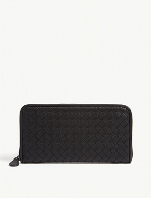 BOTTEGA VENETA Intrecciato woven leather zip purse