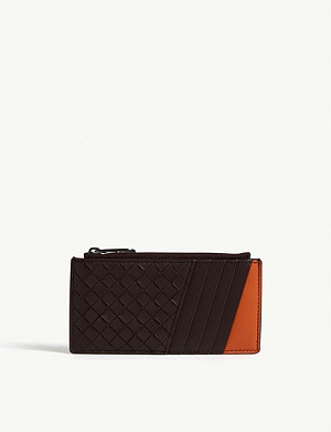 BOTTEGA VENETA Intrecciato woven leather purse and card holder