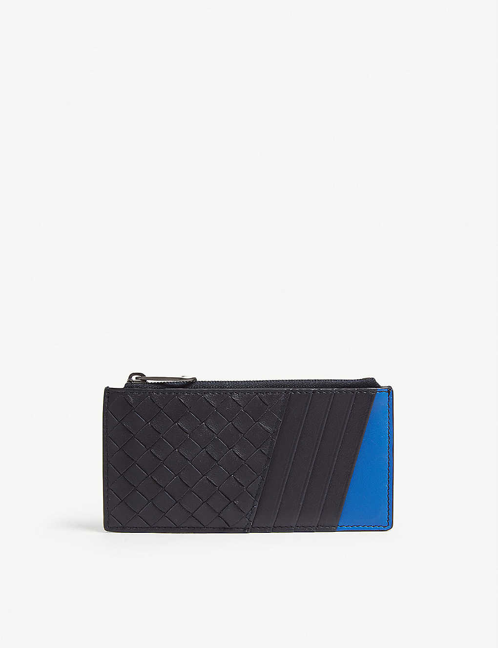 74cea2a174387 Intrecciato woven leather purse and card holder - Tourmalineprimary blue ...