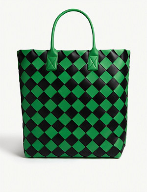 BOTTEGA VENETA Leather Maxi tote check bag