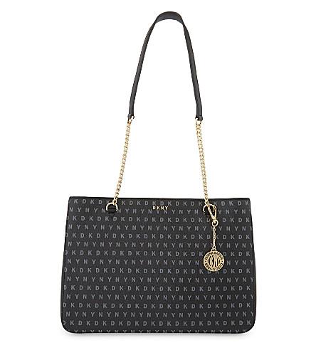 0702a7490552 DKNY Bryant Park logo large leather shoulder bag (Black+logo