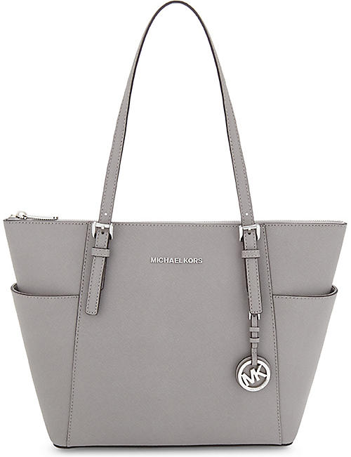 66328b455ef3 MICHAEL MICHAEL KORS Jet Set leather trapeze tote