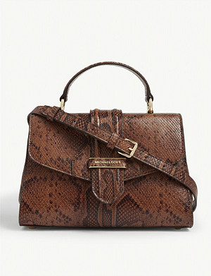 MICHAEL MICHAEL KORS Bleecker snake-embossed leather shoulder bag
