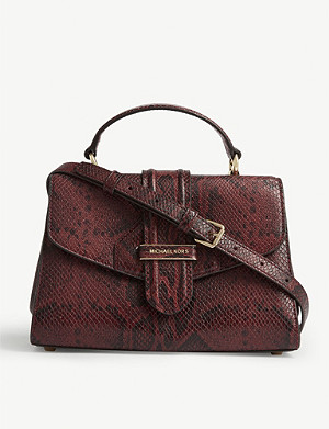 MICHAEL MICHAEL KORS Bleecker snakeskin-embossed leather shoulder bag