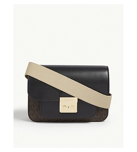 b56b77feaa84 MICHAEL MICHAEL KORS Sloan Editor leather and coated canvas shoulder bag  (Brown/blk
