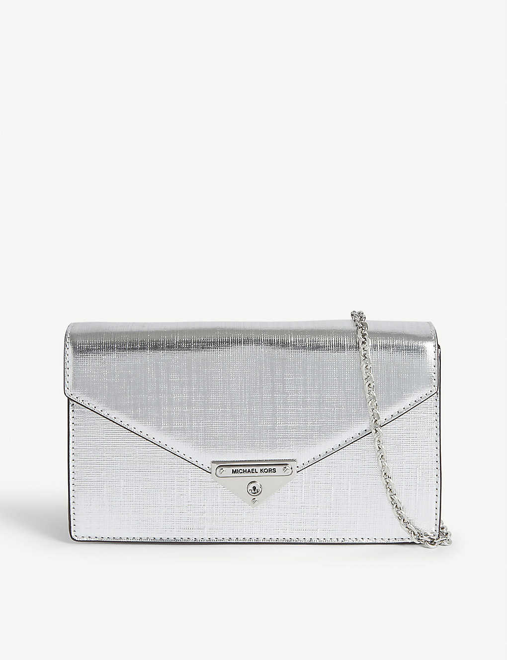 MICHAEL MICHAEL KORS: Grace metallic leather clutch