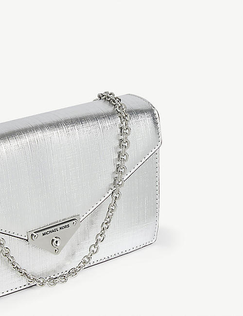 MICHAEL MICHAEL KORS Grace metallic leather clutch