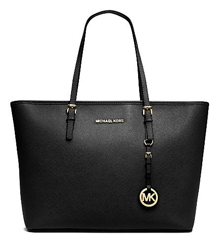 8eaac07a8ae8 MICHAEL MICHAEL KORS Jet Set Travel medium saffiano leather tote (Black