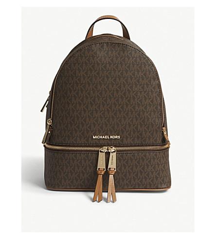 MICHAEL MICHAEL KORS Rhea medium leather backpack (Brown e1dce6e799e12