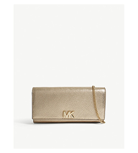 Michael Kors Pale Gold Mott Metallic-Leather Clutch Bag