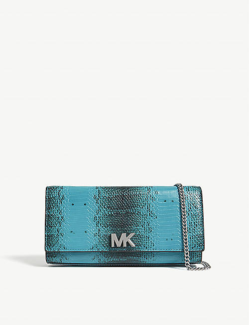 d296e4c8c073 MICHAEL MICHAEL KORS - Mott snake-embossed leather clutch ...