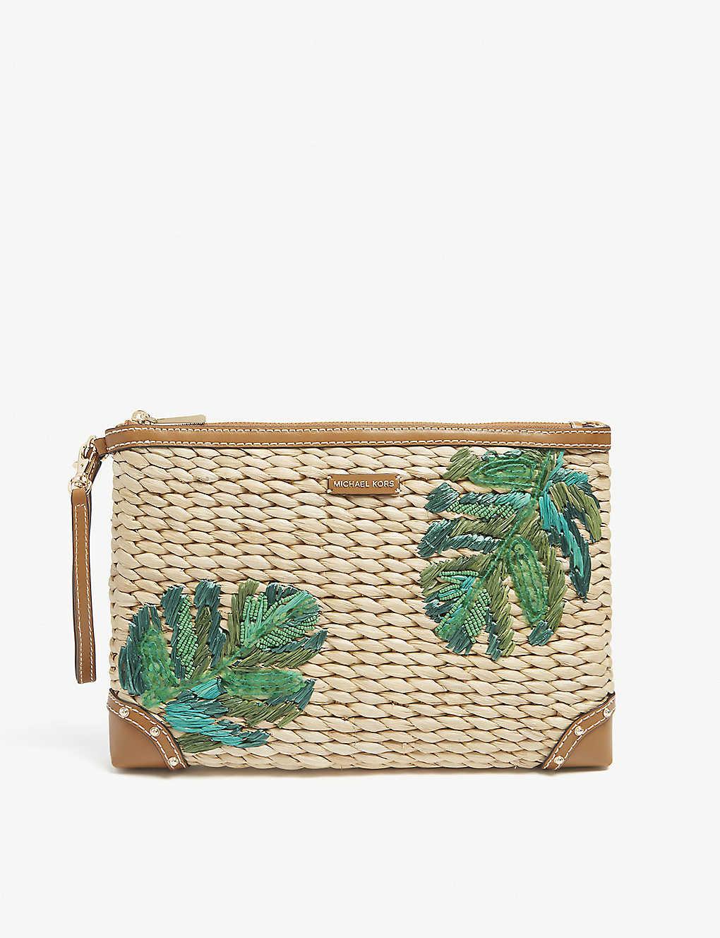 ac12e551d848 MICHAEL MICHAEL KORS - Leaf embroidered straw clutch bag ...