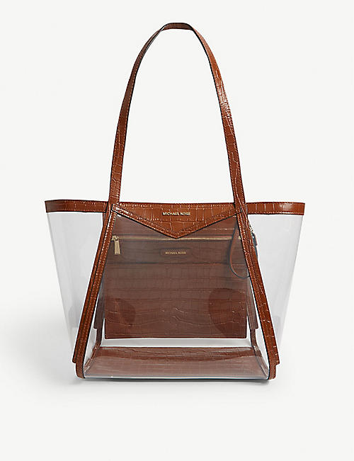 a415db5447cf MICHAEL MICHAEL KORS Whitney large pvc and croc-embossed leather tote bag