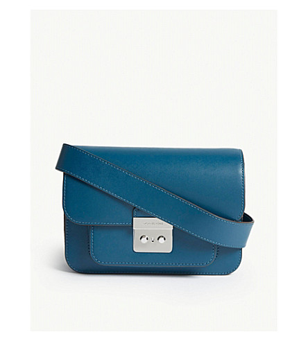 69c39a3f2f03 MICHAEL MICHAEL KORS Sloan Editor large leather cross-body bag (Luxe+teal