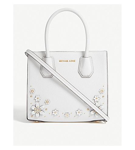 cb6efc4c3011 MICHAEL MICHAEL KORS Mercer floral-embellished leather tote (Optic+white
