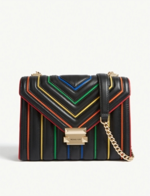 Whitney Rainbow Trim Large Leather Shoulder Bag by Michael Michael Kors