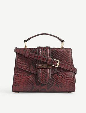 MICHAEL MICHAEL KORS Bleecker small snakeskin-embossed leather shoulder bag