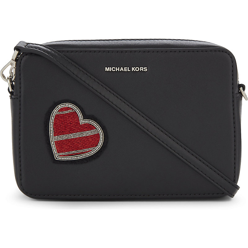 f240eab91f45 Michael Michael Kors Heart Patch Medium Leather Cross-Body Bag, Women's,  Black