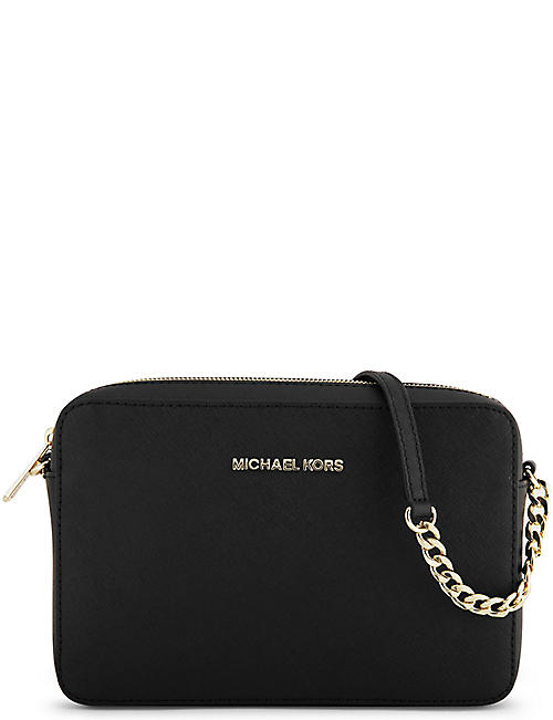 MICHAEL MICHAEL KORS Jet Set saffiano leather cross-body bag 7af44cfba3a