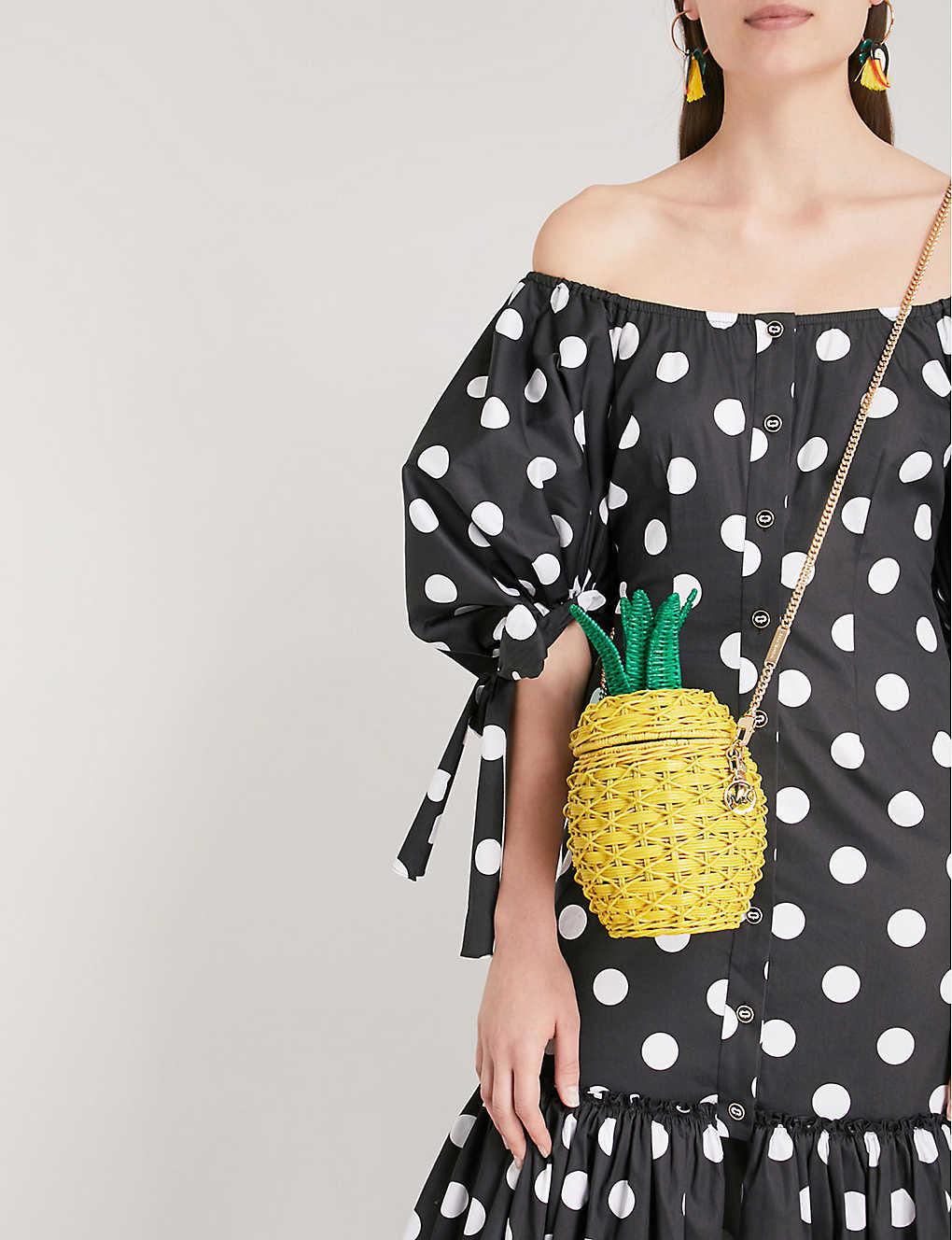 043b3200b079 MICHAEL MICHAEL KORS - Pineapple wicker and leather crossbody bag ...