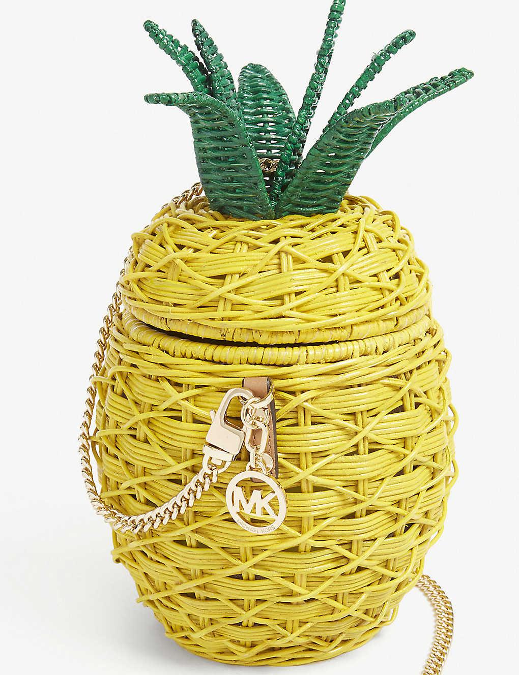 036899282550 MICHAEL MICHAEL KORS - Pineapple wicker and leather crossbody bag ...