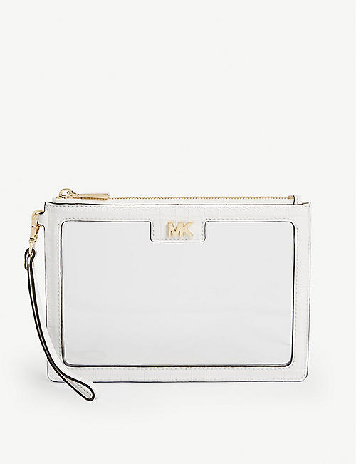 MICHAEL MICHAEL KORS Clear PVC and reptile-effect leather pouch