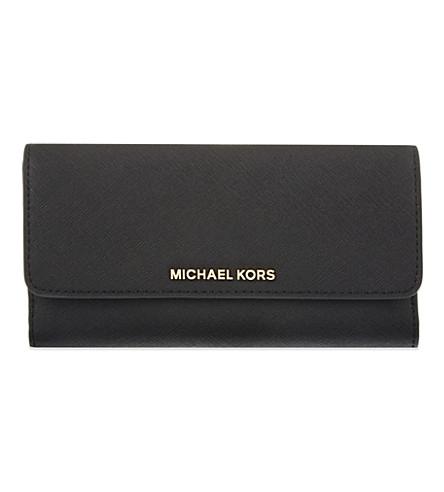 660d738e6c26 MICHAEL MICHAEL KORS Jet Set tri-fold Saffiano leather wallet (Black