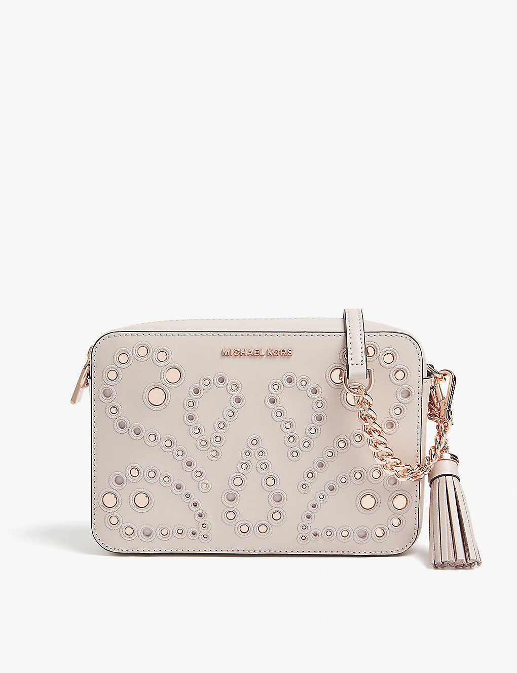 3b9295174be7 MICHAEL MICHAEL KORS - Embellished leather cross-body bag ...