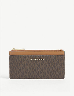 MICHAEL MICHAEL KORS: Logo-printed canvas and leather purse