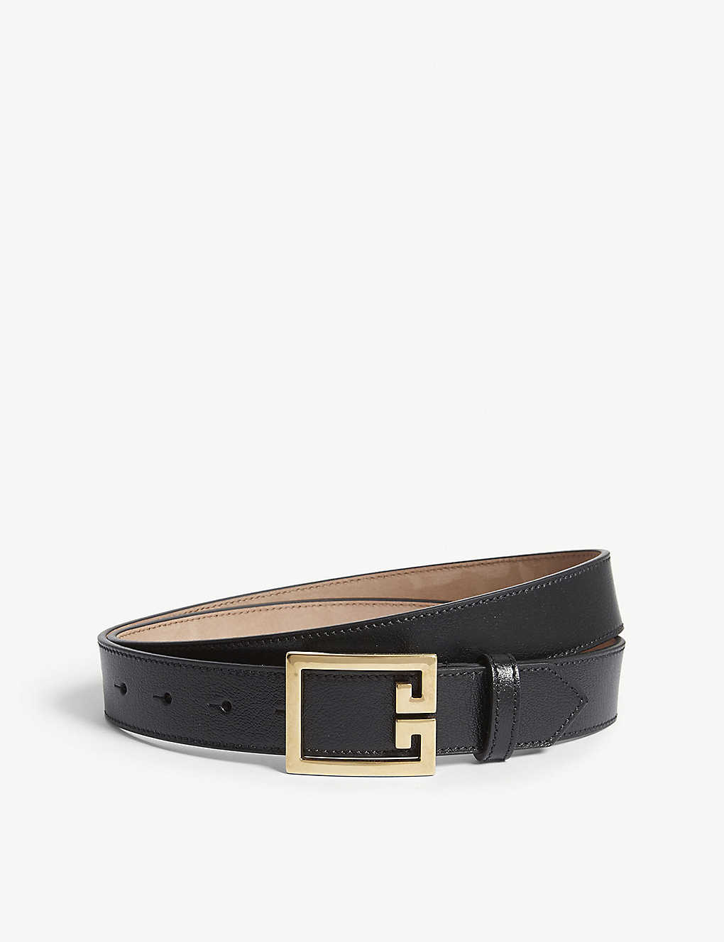 GIVENCHY: Logo-buckle leather belt