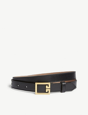 GIVENCHY Logo buckle skinny leather belt