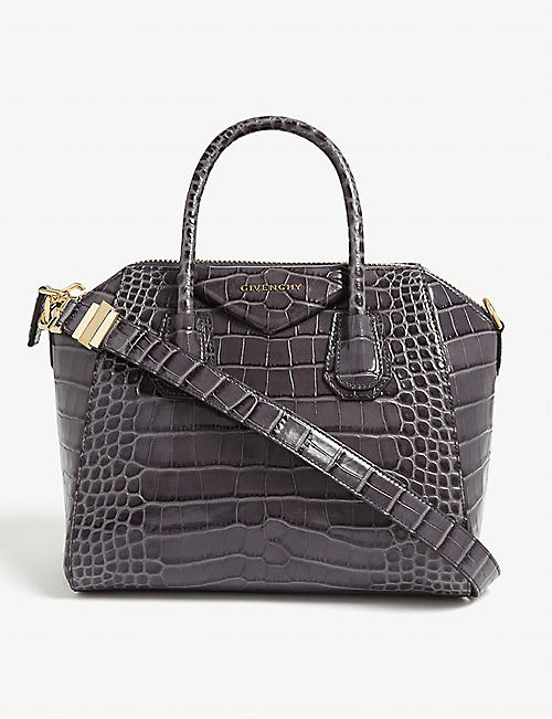 GIVENCHY Antigona small croc-embossed leather tote bag