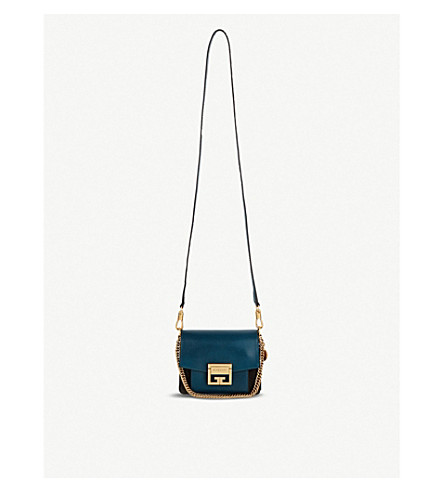 780bd3a598dd ... GIVENCHY GV3 Mini leather and suede cross-body bag (Prussian+blue grey.  PreviousNext