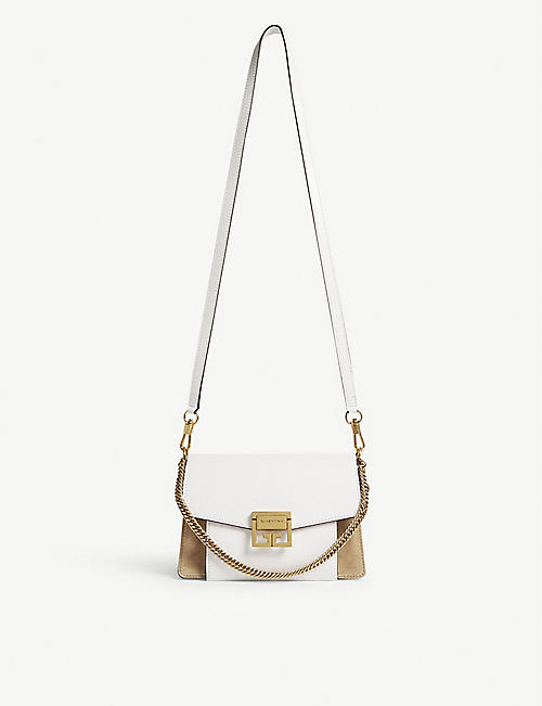 GIVENCHY GV3 small leather and suede shoulder bag