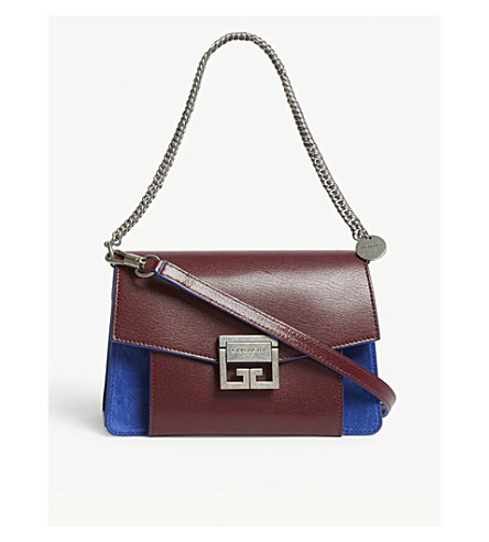 d7988176873e9f ... GIVENCHY GV3 small leather-suede shoulder bag (Aubergine/blue.  PreviousNext