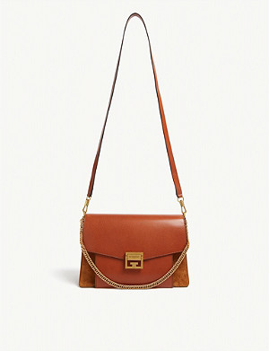 GIVENCHY GV3 leather and suede shoulder bag