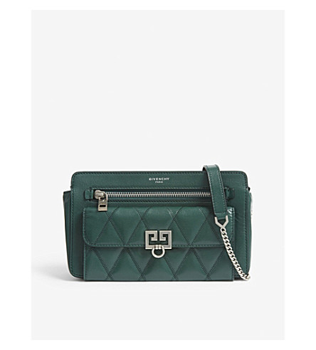 7a8b512de6c5 GIVENCHY Pocket quilted leather cross-body bag (Green+forest