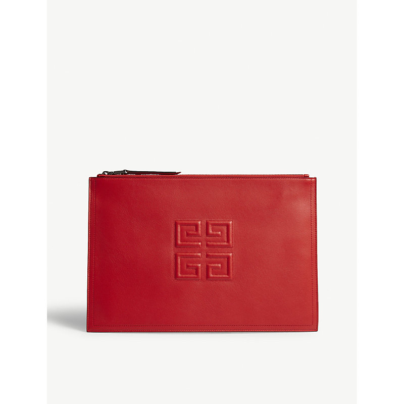 Embossed Logo Lambskin Leather Pouch - Red, Poppy Red