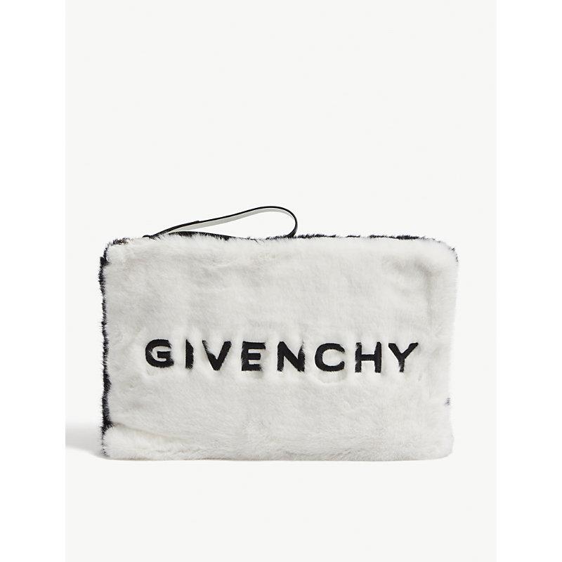 Givenchy Pouches LOGO FAUX-FUR CLUTCH