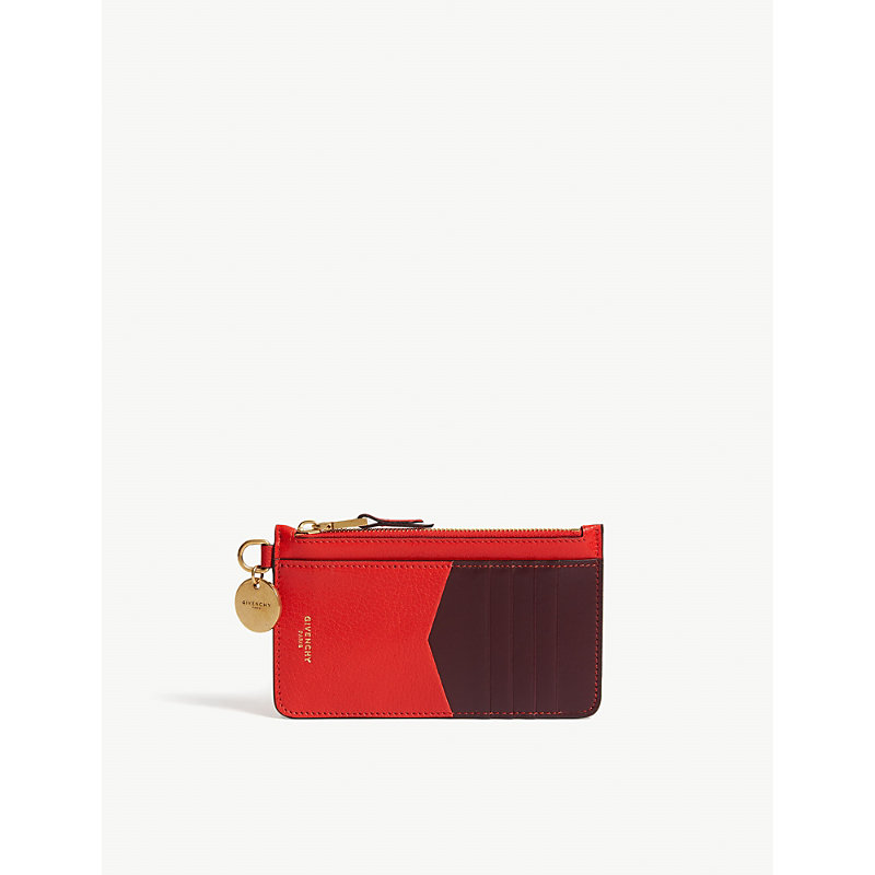 Gv3 Bicolor Leather Card Case in Red/Aubergine