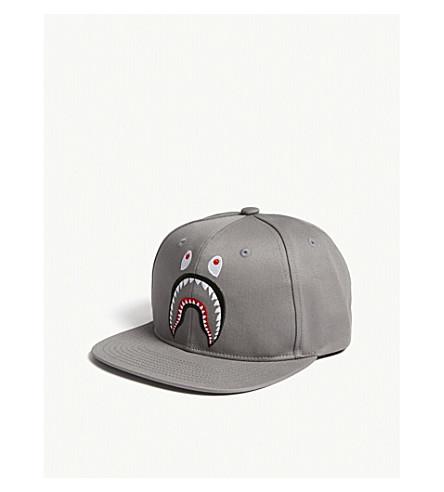 A Bathing Ape Shark Cotton Snapback Cap In Grey  94e7826591